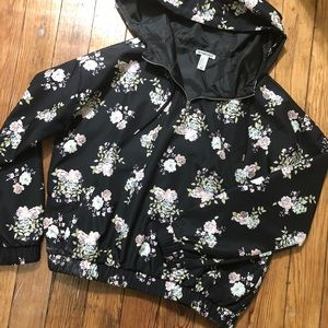Forever 21 floral half zip rain pullover with hood